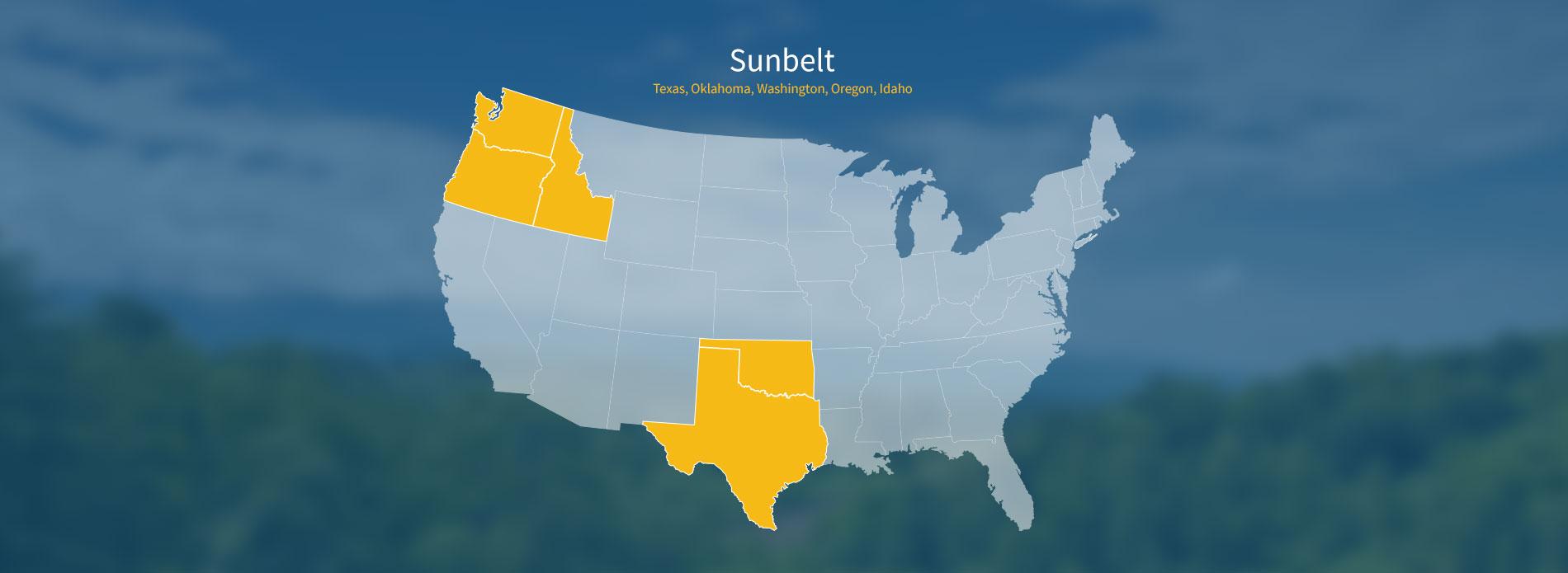 Penn Global Marketing Sunbelt Territory - Us sunbelt map